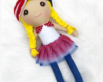 Ready to Ship, Heirloom Cloth Doll, memorial day gift, Fourth of July gift, Handmade Doll, Toddler Girl Gift, Birthday or Baby Shower gift