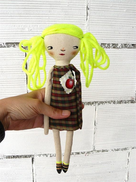 Art doll. Fluor hair. Hand embroidered. 28 cm