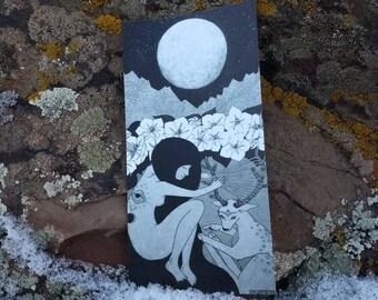 "Sticker - Moonflower - 3x6"" black and white illustration"