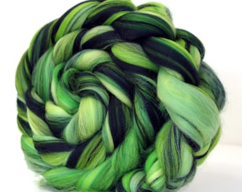 Fine Merino Wool  Combed Wool Top - Rainforest 100g Felting Fiber Spin Yarn