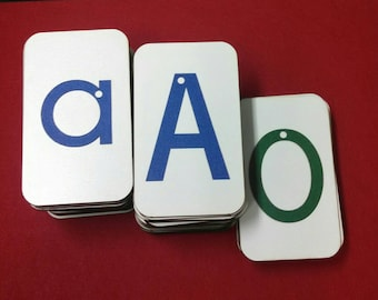 """Sandpaper Letters, Uppercase, Lowercase and Numbers mounted on 3""""x5"""" Fiberboard Wood"""