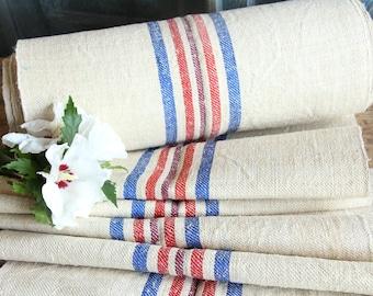 R 315 antique hemp linen BLUE RED upholstery 6.23yards handloomed STAIRUNNER benchcushion 캔버스 자루 wedding Beachhouse look
