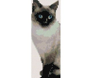 Siamese Cat Odd Count Single Drop Peyote Cuff/Bracelet Pattern