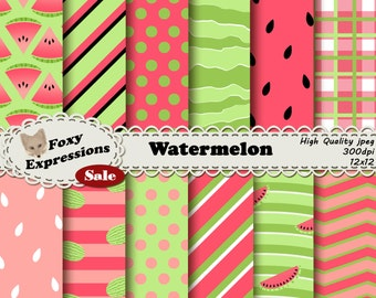 Watermelon paper in shades of green and pink with fun designs including seed polka dots, triangle slices, picnic plaid, waves, stripes, etc