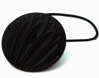 Large Black Decorative Ponytail Holder, Fan of Leaves Pattern, Vintage Plastic Button, Beautiful Detail, Hair Accessories, Hair Adornment