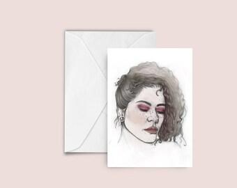 Nicole fashion illustration Greeting card , blank card