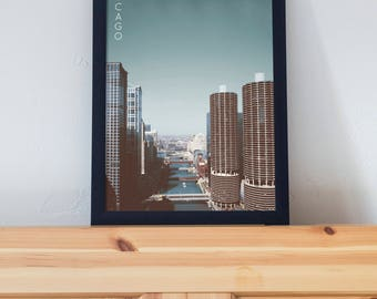 Chicago, Illinois Poster 11x17 18x24 24x36