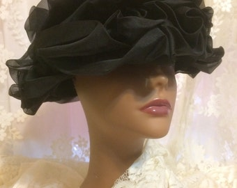 Stunning Black Ruffled Hat