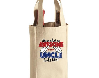 Wine Tote Bag - 2 Bottle - Awesome Uncle