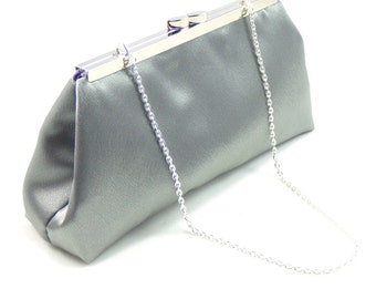 Steel Grey And Blackberry Purple Bridal Clutch, Wedding Clutch, Bridesmaid Gift, Mother of the Bride Gift, Bridesmaid Clutch, Silver Clutch