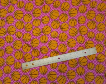 Pink with Orange Basketballs Flannel Fabric by the Yard