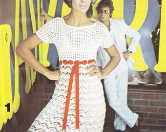 Crochet White Dress Vintage Pattern - PDF Instant Download - 70s Mini Dress - Dress Top - Digital Pattern - Lacy Peek a Boo Sweater Dress