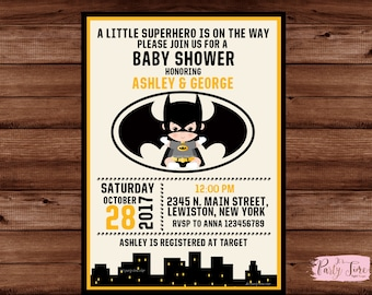 Batman Baby Shower Invitation   Superhero Baby Shower Invitation   Boy Baby  Shower Batman Announcement   DIGITAL FILE