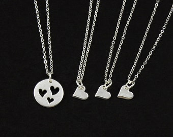 SALE - Sterling Silver Mother & Three Daughters Heart Necklaces