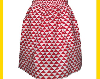 Red and white triangle pattern cotton skirt