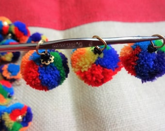 50 pcs Handmade Pom Poms Balls with Wire Loop, Woolen Pom Poms, Yarn Balls, Craft and Decoration Supply - Multicolor with Loop
