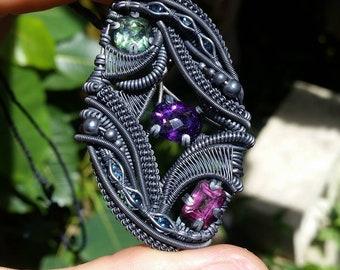 Amethyst, Topaz, Pink Topaz, Blue Topaz, Green Topaz, Silver, Wire Wrap, Pendant, Handmade Jewelry