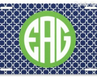 License Plate/Criss Cross Pattern/Personalized/Monogram/Express yourself/Vibrant Colors/Great Gift Idea/Sweet 16/Stylish/Front Car Tag