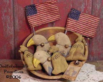 Prim Americana Eagle Liberty Bell Flag Tucks Bowl Filler Ornies E-Pattern  ET