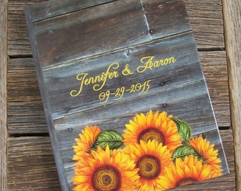 Rustic Wedding Guest Book with Sunflowers and Wood - A Traditional Personalized Guestbook - Outdoor, Country, Farm Wedding Guest Book