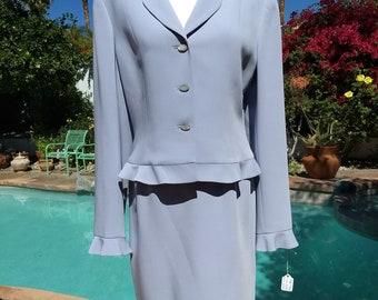 Charming Albert Nipon Light Blue 2 Piece Skirt Suit,Size 8.