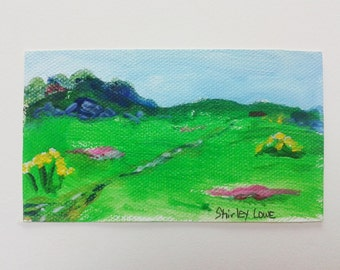 Landscape mini original art, tiny landscape 2 1/4 x 4 inches, original art mini gift, hostess art gift, happy gift, tiny art