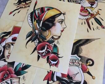 Set of 5 Tattoo Flash Art Prints