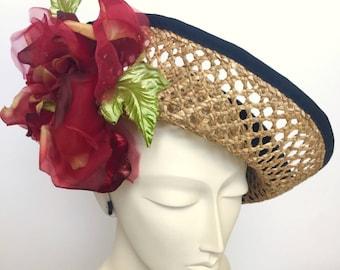 Kentucky Derby Red Fascinator Hat, Red Rose Fascinator for Derby