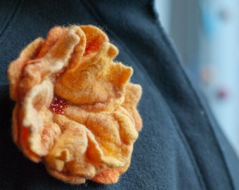 Gold Ruffled Felt Flower Brooch