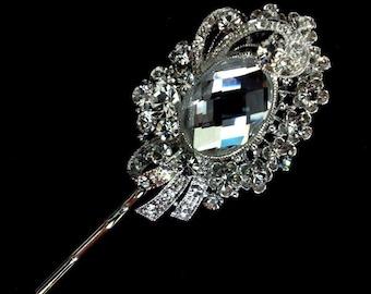 Bridal Hair Pin, Swarovski Wedding Hair Pin, Crystal Hair Pin, Bridal Hair Jewelry, Bridesmaid Gift for Her, Silver Wedding Headpiece, DESY