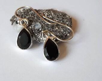 Black onyx earrings, faceted, 92.5 sterling silver; teardrop shape