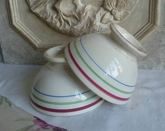 Vintage Café au Lait, Large White Bowls with Stripes, French Country Farmhouse Decor