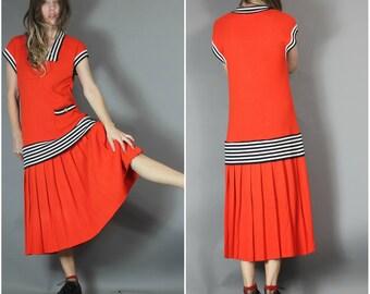 Vintage 80s Drop Waist Knit Dress Unique Tomato Red Stripes Pleats