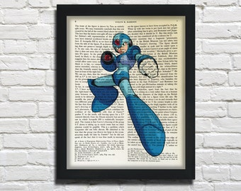 Megaman, printed on Vintage Paper - dictionary art print, book prints