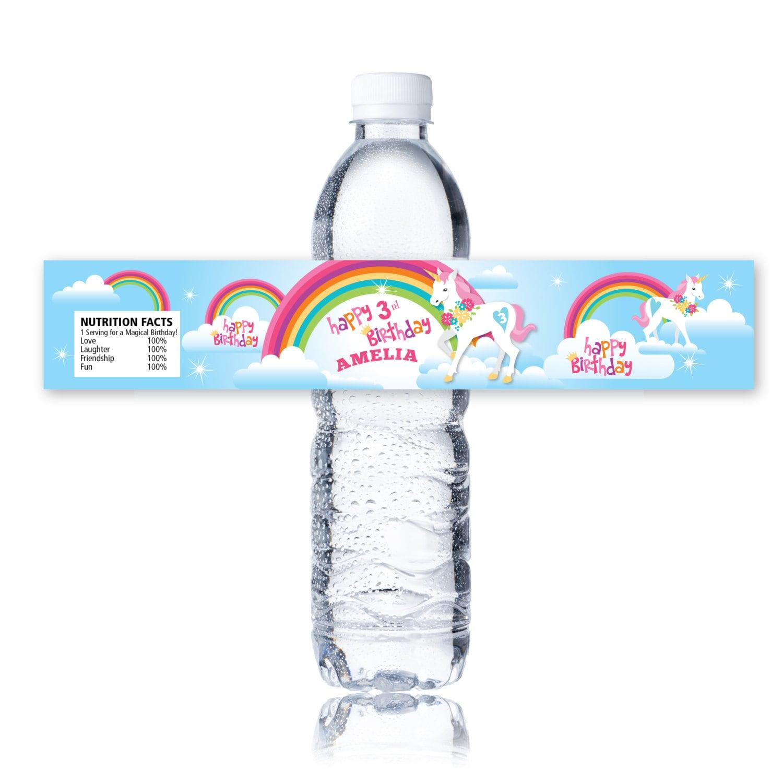 Regenbogen-Einhorn-Wasser Flaschen-Etikett individuell