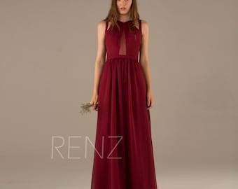 Wine Bridesmaid Dress, Dark Red Prom Dress, Chiffon Pleated Dress, Long Formal Dress, Maxi Dress, Party Dress Floor Length (L003)