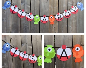 IT'S A BOY Gone Fishing Theme Banner - Fish Baby Shower Banner - Fish and Bobber Banner - Gone Fishing Baby Shower - Made to Order