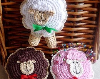 Sheep Ornament - Christmas Ornament - Crochet Ornament - Lamb Pincushion - Lamb Ornament - Sheep Toy - Home Decor - Gift for Kids - For Her