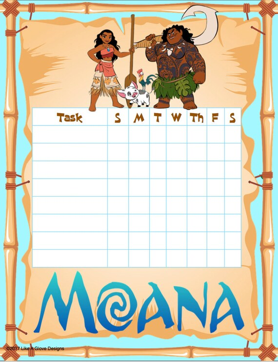 moana chore chart printable instant download