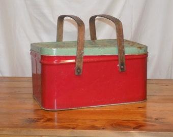 Vintage Red and Green Metal Picnic Basket