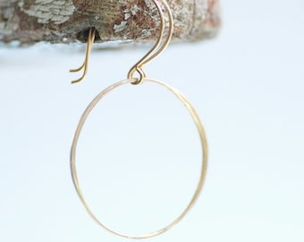 Simple Gold Earrings, Circle Earrings, Gold Wire Earrings, Hammered Gold Earrings, Everyday Earrings, Geometric Jewelry, Gold Jewelry