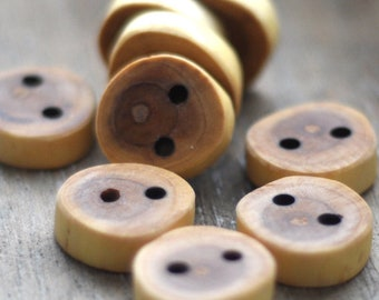 handmade Sea Buckthorns wood buttons •  tree branch buttons • set of 9 Sea Buckthorns wooden buttons  • wood button
