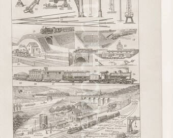 French railways 1922 vintage original print illustration plate to frame A4 size trains, wagons, station