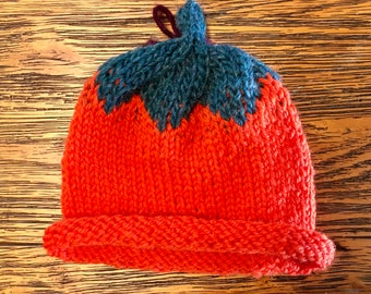 Baby, hat, beanie with rolled brim, pumpkin, newborn-3 months, wool.