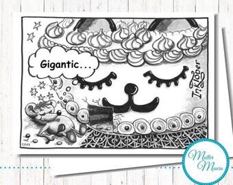"""Postcard """"Gigantic"""", cartoon, Cat, mouse"""