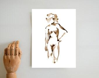 Fine art, female nude print, minimal ink, female glicee print, nude wall art, nude art room decor, sepia ink print, nude art, nude print,