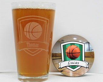 Basketball, Basketball glass and Coaster gift set, Basketball gift, Basketball beer glass