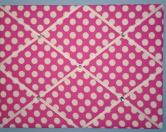 Bright pink with large white polka dot french memo board, 18 x 24, large