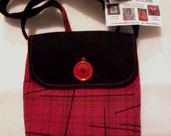 Purse From Reclaimed Shirt and Deniums with Crossbody Strap