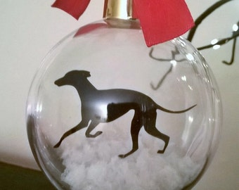 Greyhound Silhouette Dog in the Snow (version 1)  Pet Bauble